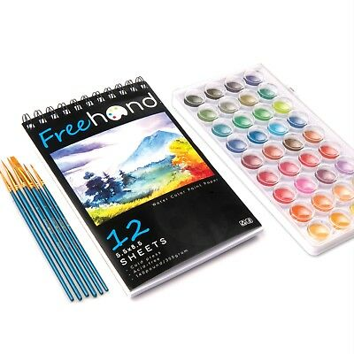 Water Color Paint Set - 36 Premium Water Color Paints - 12 Page Water Color Pain - Water Paint