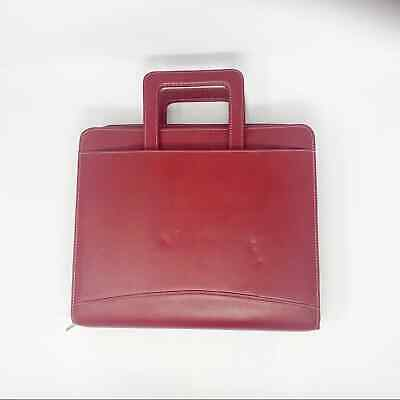 Vintage Franklin Covey Red Leather Planner Binder W Handles 7 Rings