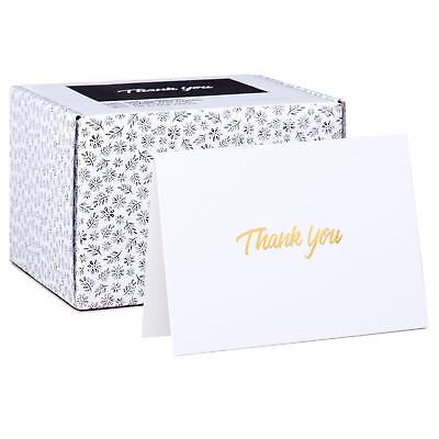 100 Thank You Cards - White Bulk Note Cards with Gold Foil Embossed Letters - 100 Thank You Cards