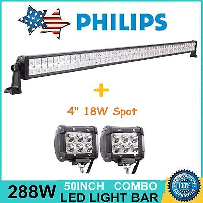"50"" 288W Philips LED Light Bar Spot Food + 4"" Cree Spot Lights Offroad Jeep Ford"