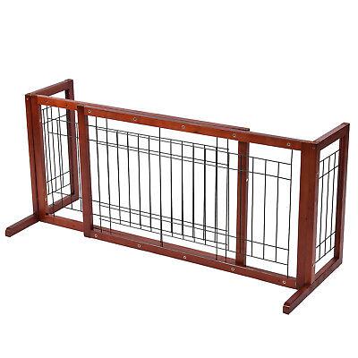 Indoor Pet Fence Solid Wooden Dog Gate Adjustable Pet Fence Playpen Free Stand