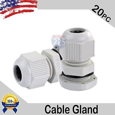20 Pcs PG9 White Nylon Waterproof Cable Gland 4-8mm Dia. w/ Lock-Nut & Gasket US