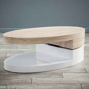 About Modern Design White Gloss Wood Oval Swivel Top Coffee Table