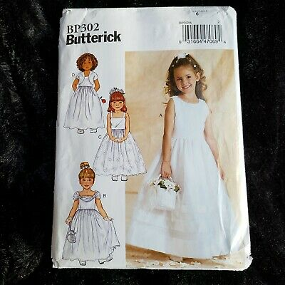 Flower Girl Dresses With Jackets (Butterick 3351 BP302 Girls Flower Girl Gown Dress With Lined Jacket Size 6)
