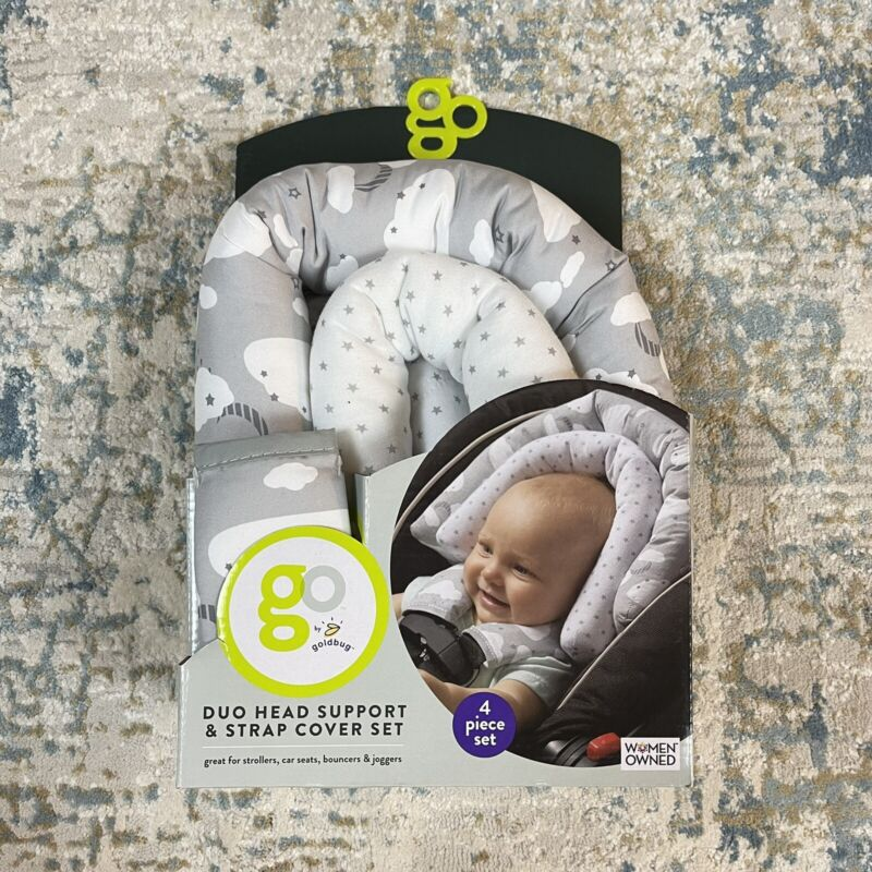 GO By Goldbug NEW Duo Head Support And Strap Cover Set For Car Seat, Stroller