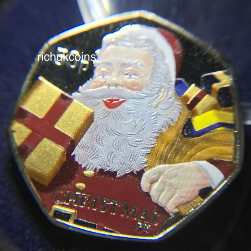 2011 IOM Xmas Colour-printed Diamond Finish 50p Coin