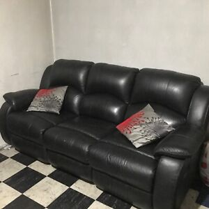 4 Seater Recliner Leather Sofa Lounge Set with 2 Recliners