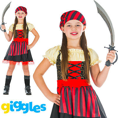 Baby Costumes For Girls (Girls Pirate Caribbean Kids Child World Book Day Week Fancy Dress Costume)