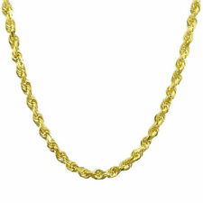 10K Yellow Gold Light 1.5mm-4mm Diamond Cut Rope Chain Pendant Necklace 14