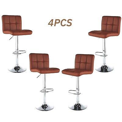Set of 4 Bar Stools Counter Adjustable Swivel PU Leather Pub Dinning Chair Brown ()