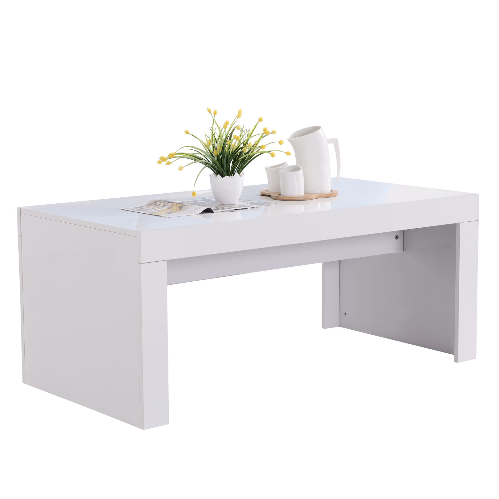 New modern high gloss white rectangle coffee table living for White gloss furniture for living room