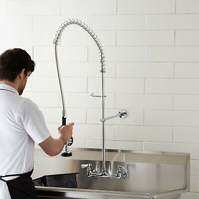 Wall Mount Pre-rinse Faucet 8 Centers Commercial 3 Compartment Sink Nsf