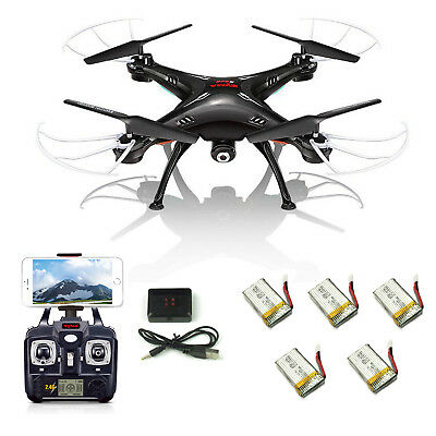 5 Batteries Syma X5SW-V3 RC Quadcopter Drone HD Camera WIFI FPV 4CH 6-Axis Black