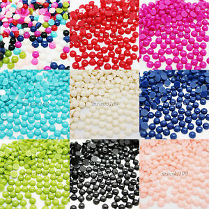 1000 pearls round flat back acrylic gems nail art crafts for Plastic gems for crafts