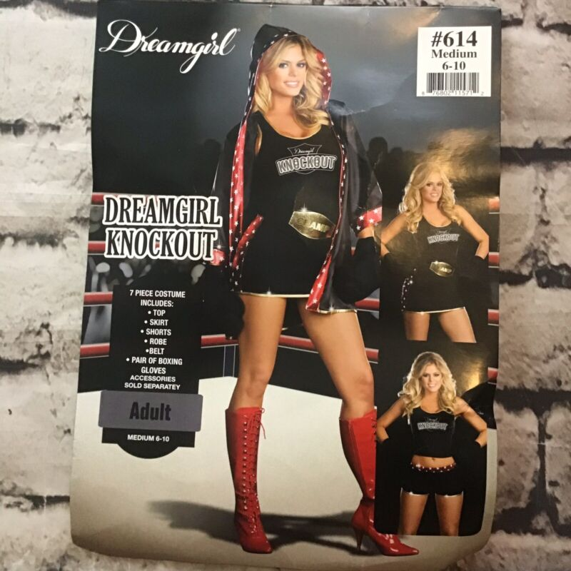 Dreamgirl Knockout Womens Sz M Boxer Halloween Costume W/Robe Gloves Incomplete