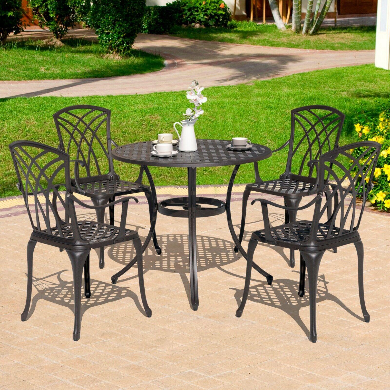 Garden Furniture - Nuu Garden 5 Piece Outdoor Cast Aluminum Dining Set Patio Bistro Set Furniture