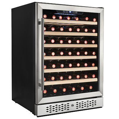 54 Bottle Single Zone Touch Control Built-in Compressor Freestanding Wine Cooler