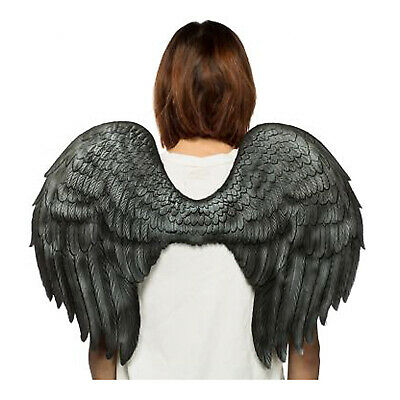 Adult Men Women Black Angel Costume Wings Devil Crow Raven Religious Lucifer](Angel Costumes For Men)