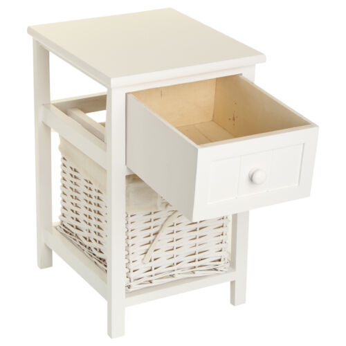 2x blanco mesilla de noche c moda mesita de dormitorio mesa peque a elegante ebay - Mesita noche pequena ...