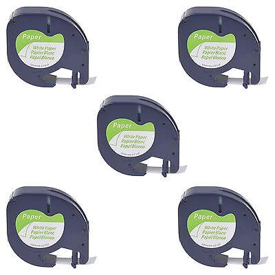 5 PK S0721510 White Paper Label Tape for DYMO Letratag LT 91330 12mm LT100T QX50