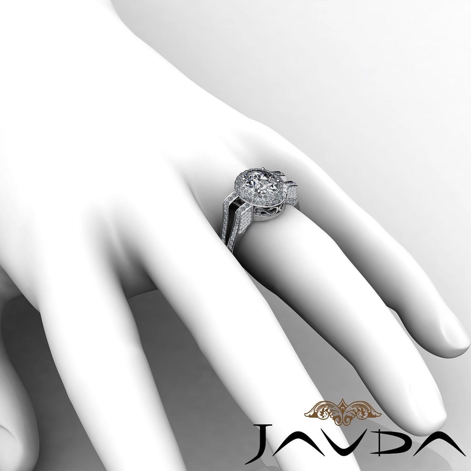 1.9ctw Gala Halo Split Shank Oval Diamond Engagement Ring GIA E-VS2 White Gold 5