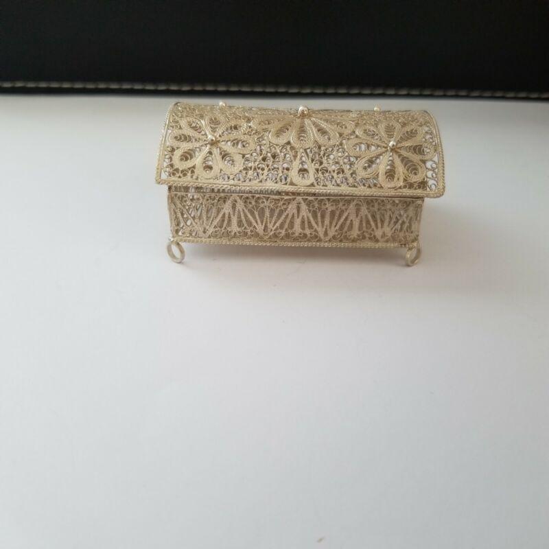 Vtg Sterling Silver Filigree Trunk Chest Trinket Box