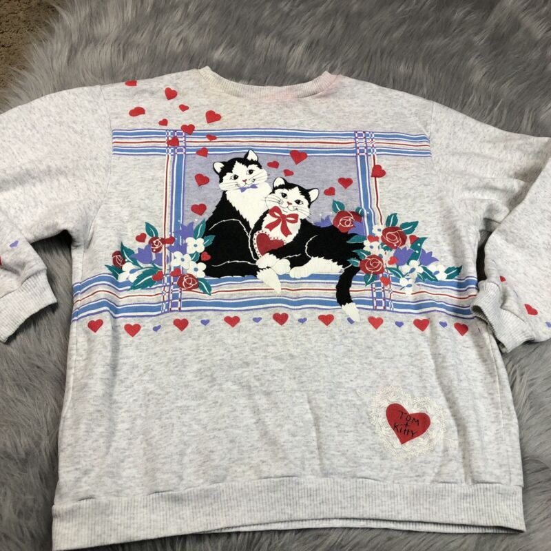Vintage 90s Spumoni Kitty Cat Heart Floral Gray Womens Sweater