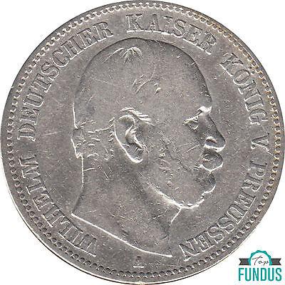 Preußen König Wilhelm I. 2 Mark 1876 A J.Nr. 96 s-ss Silbermünze (218)