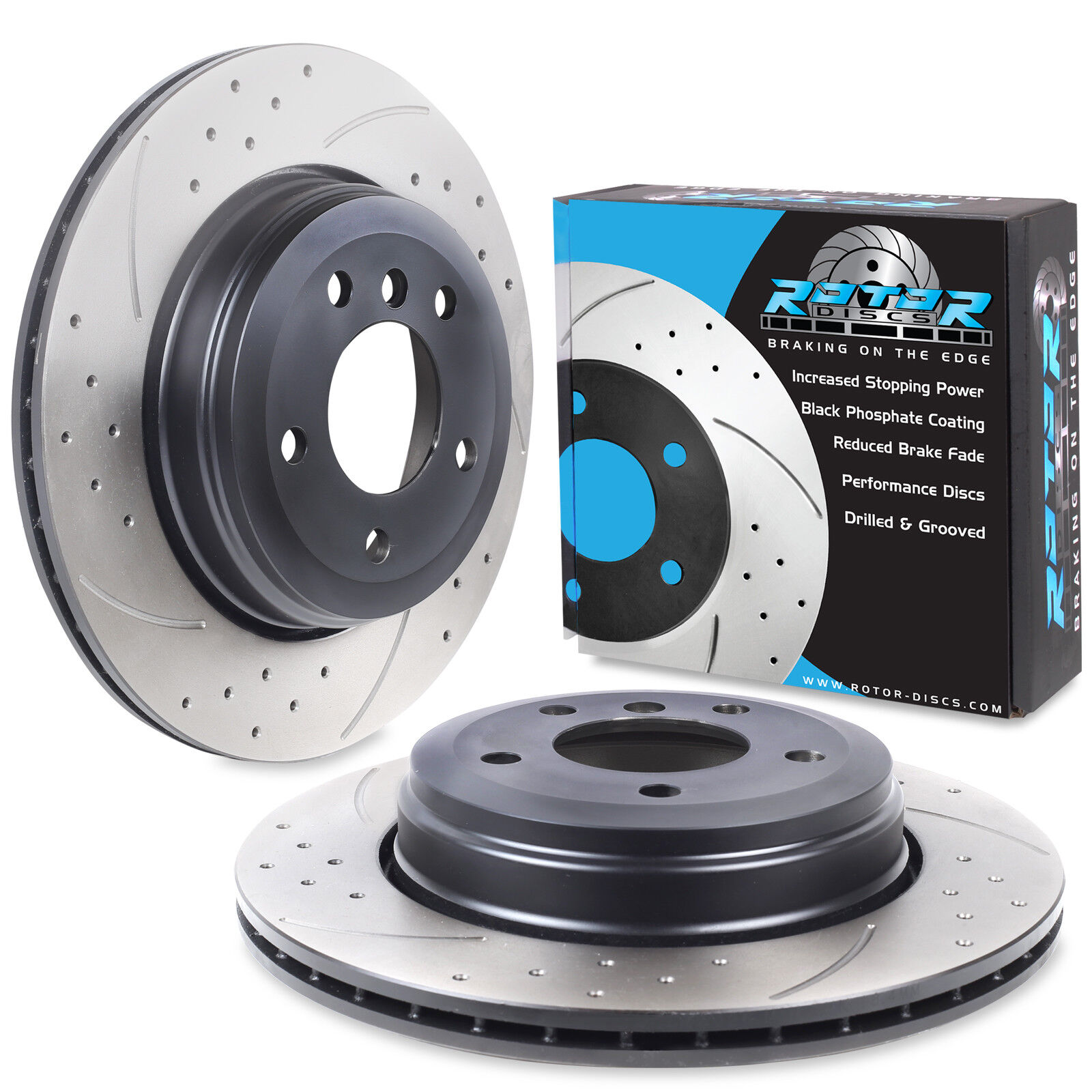 525d 03//04 BMW 5 Saloon E60 Rear Brake Discs Drilled Grooved Gold Edition