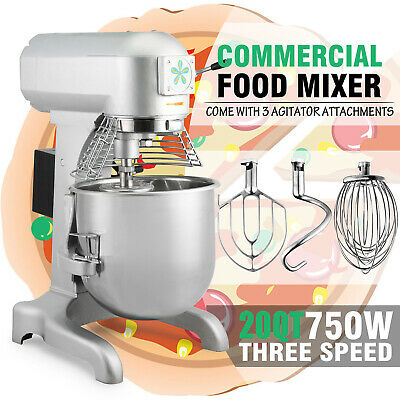 1.0 Hp 20 Qt Commercial Dough Food Mixer Gear Driven Pizza Bakery Three Speed