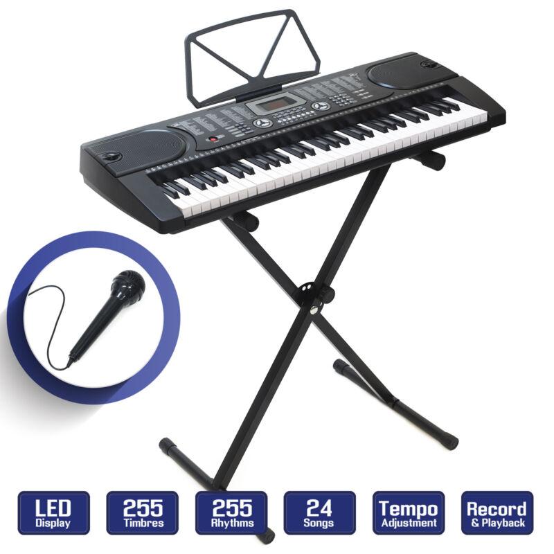 Digital Music Piano Keyboard - Portable Electronic Instrument w Stand - 61 Key