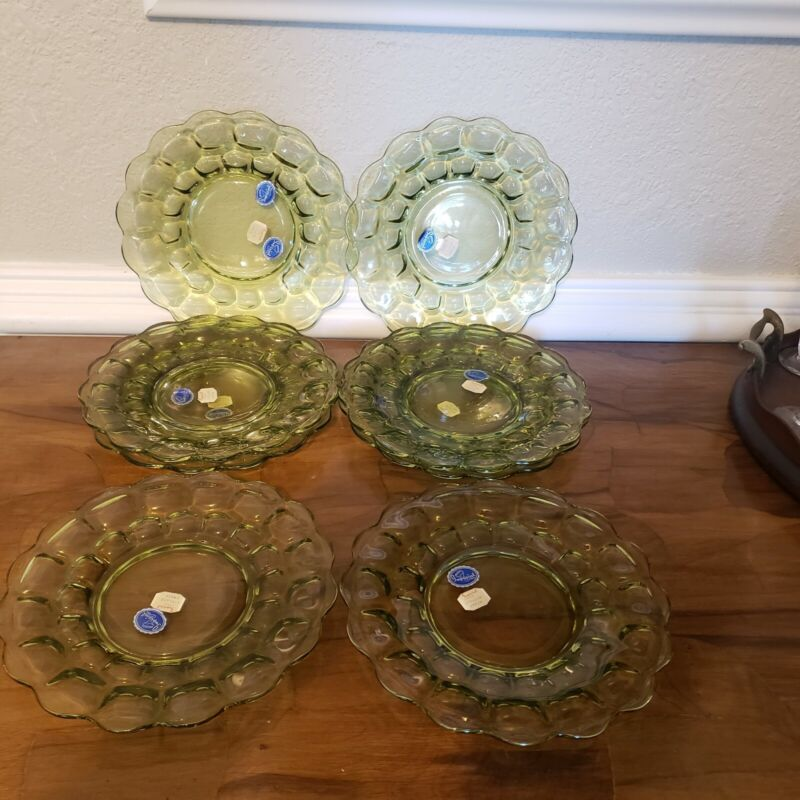 """Vintage 8 Imperial Glass Provincial Verde Green 8"""" Luncheon Plates Free ship!"""