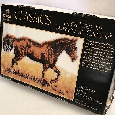 (Galloping Horse Latch Hook Kit Caron Classics CC0201 Made In USA Rare HTF)