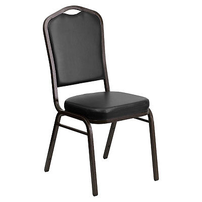 Lot Of 10 Crown Back Black Vinyl Gold Vein Frame Table Stack Chairs Free Shippin