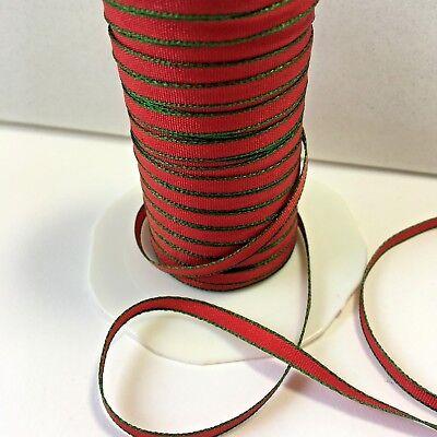 """(1/8"""" Solid Ribbon - May Arts - 340-44 - Red/Green - 5 Yds.)"""
