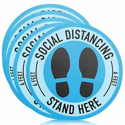 Home Decoration - Social Distancing Floor Decals - 11'' (5) Pack | 6 Feet Apart Sticker, Social Di