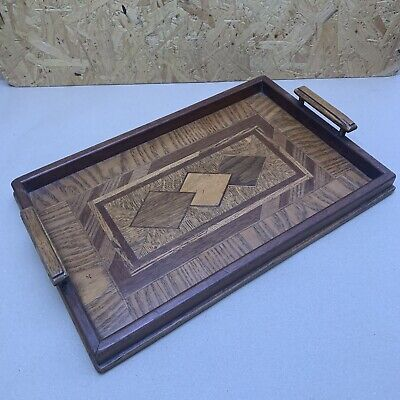Vintage Handmade Inlaid Wooden 2 Handled Serving Butlers Tray - Mid Century