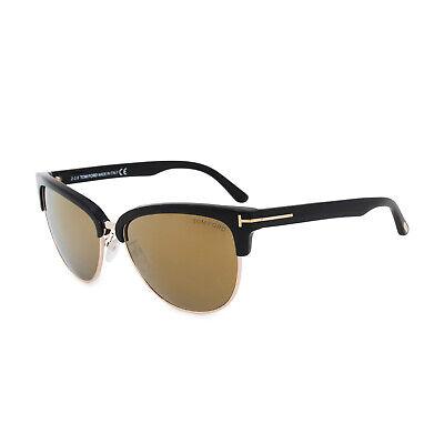 TOM FORD Damen Cat Eye Sonnenbrille FANY FT0368S 01G Schwarz Gold verspiegelt