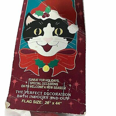 """Vintage 1998 NCE Decorative Outdoor Flag Christmas Cat Large 2 Sided 28"""" X 44"""""""