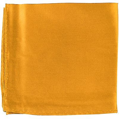MANZO Men's Polyester Shiny Finish Pocket Square Hankie Only Metallic Gold