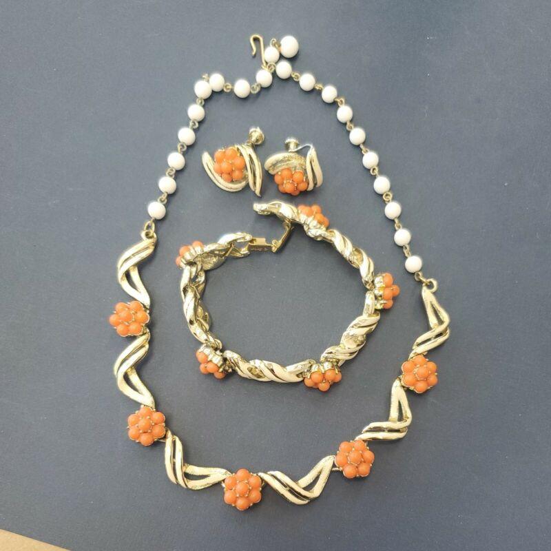 """VINTAGE CORO orange enamel NECKLACE BRACELET EARRING SET ESTATE JEWELRY 16"""""""