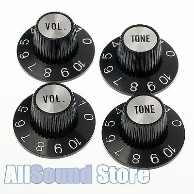 Set of 4 BLACK Witch Hat KNOBS w/ SILVER Reflectors fits Gibson® CTS Split Shaft](Black Witch Hat)