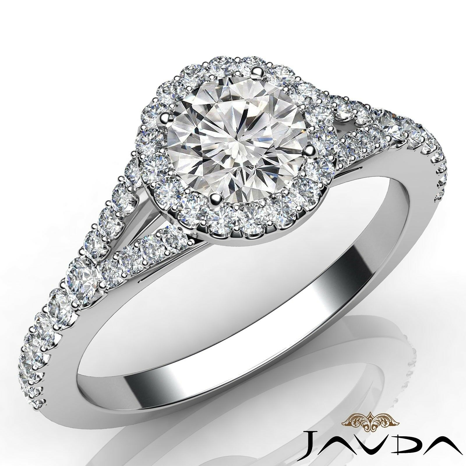 0.9ctw Halo Pave Set Round Diamond Engagement Ring GIA H-VS1 White Gold Women