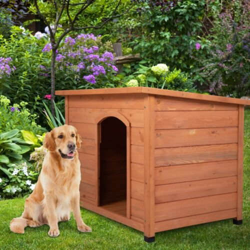 "43"" Waterproof Wood Large Dog House Slant-Roofed Kennel Cabin Pet Cage Outdoor"