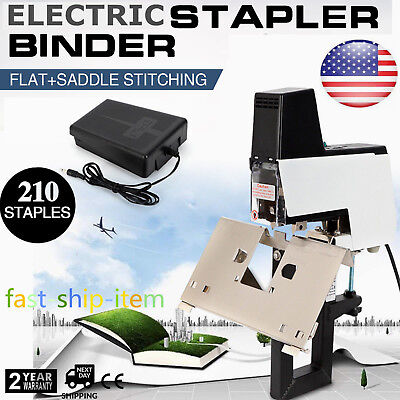 Electric Auto Stapler Flat Saddle Binder Machine 2-50 Sheets Foot Pedal 110v Us