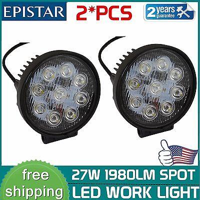 2X 27W 4inch Round Spot LED Work Light Offroad Fog Driving SUV ATV Truck 4WD