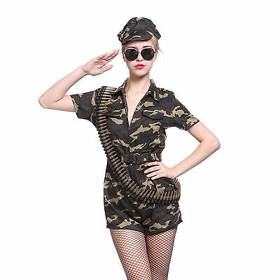 Women Ladies Army Soldier Girl Camouflage Costume Captain Commando Combat Outfit (Woman Soldier Costume)
