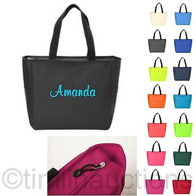 Zip Personalized Monogram Tote Bag Bridesmaid Gift Bride Teacher Nurse - Teacher Tote Bags