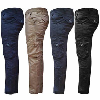 Mens Cargo Combat Pants Trousers Work Slim Light Tactical Multi Pockets Bottoms