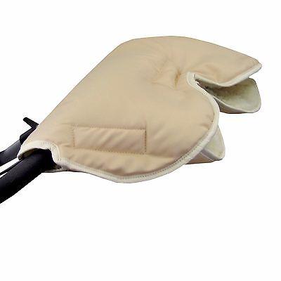 HANDMUFF MUFF Handwärmer Handschuh für Kinderwagen mit LAMMWOLLE BEIGE